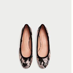 Zara Floral Print Ballerinas Flats Size 8